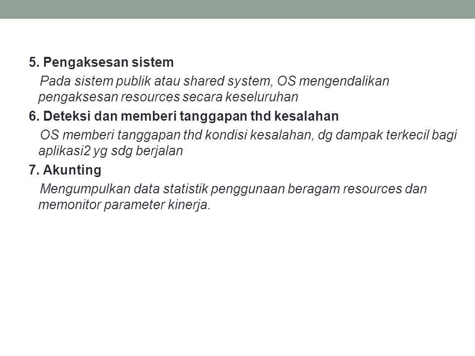 5. Pengaksesan sistem Pada sistem publik atau shared system, OS mengendalikan pengaksesan resources secara keseluruhan 6. Deteksi dan memberi tanggapa
