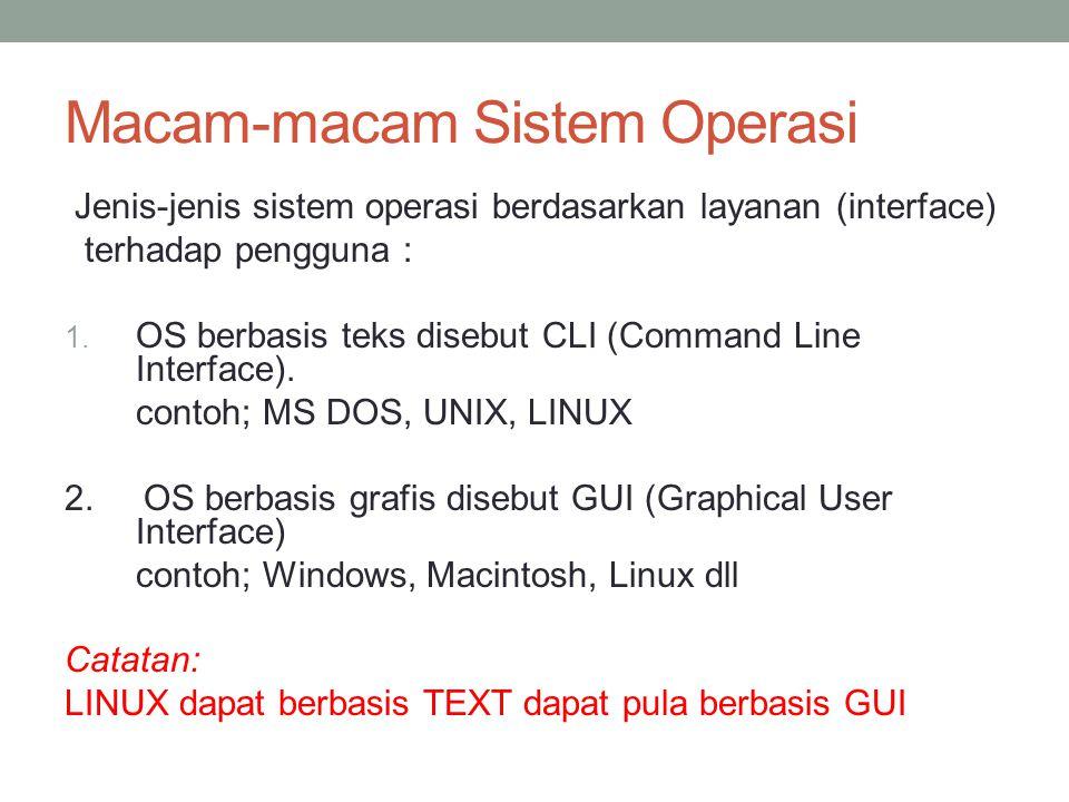 Macam-macam Sistem Operasi Jenis-jenis sistem operasi berdasarkan layanan (interface) terhadap pengguna : 1.