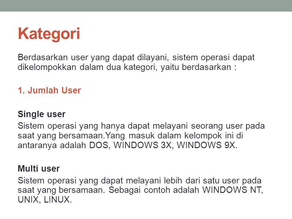 Kategori Berdasarkan user yang dapat dilayani, sistem operasi dapat dikelompokkan dalam dua kategori, yaitu berdasarkan : 1.