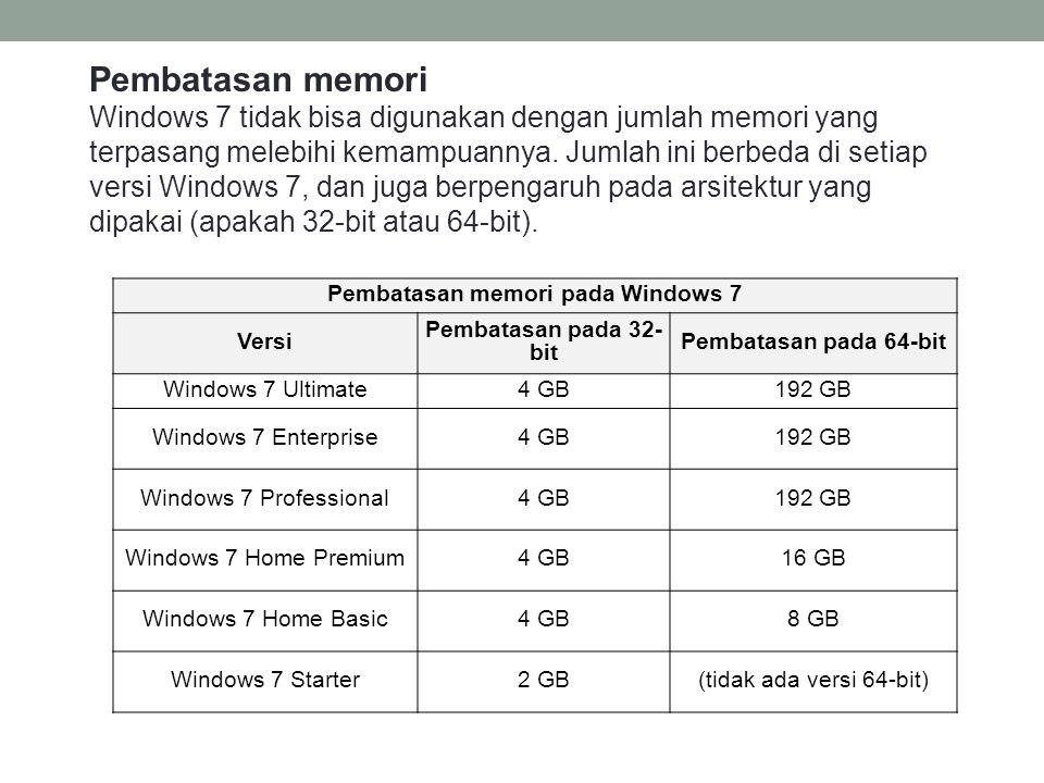 Pembatasan memori Windows 7 tidak bisa digunakan dengan jumlah memori yang terpasang melebihi kemampuannya.