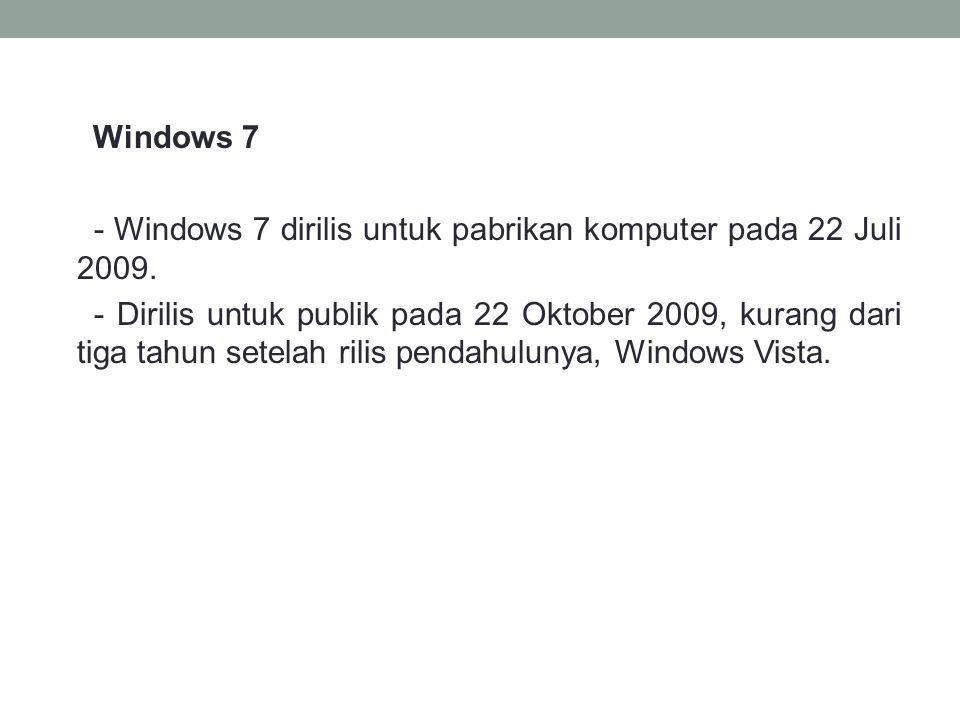 Windows 7 - Windows 7 dirilis untuk pabrikan komputer pada 22 Juli 2009.