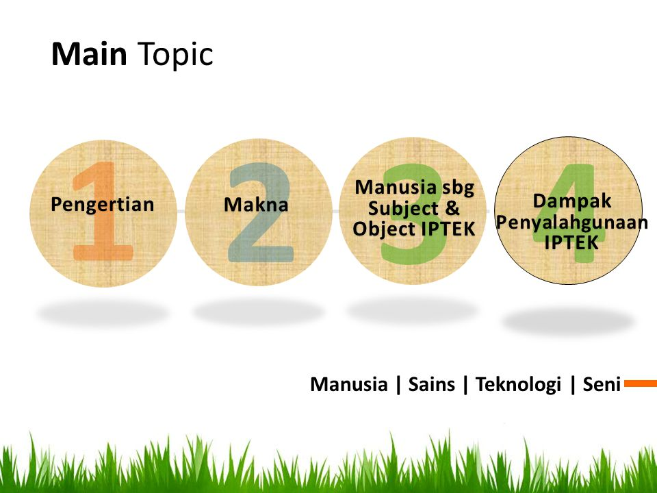 Main Topic Manusia | Sains | Teknologi | Seni 1 Pengertian 2 Makna 3 Manusia sbg Subject & Object IPTEK 4 Dampak Penyalahgunaan IPTEK