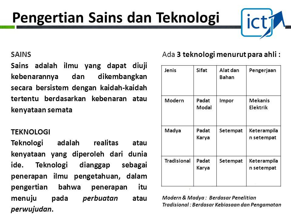 Ada 3 teknologi menurut para ahli :SAINS Sains adalah ilmu yang dapat diuji kebenarannya dan dikembangkan secara bersistem dengan kaidah-kaidah terten