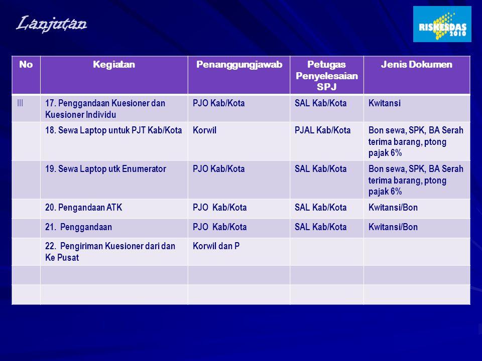 NoKegiatanPenanggungjawabPetugas Penyelesaian SPJ Jenis Dokumen III 17. Penggandaan Kuesioner dan Kuesioner Individu PJO Kab/KotaSAL Kab/KotaKwitansi