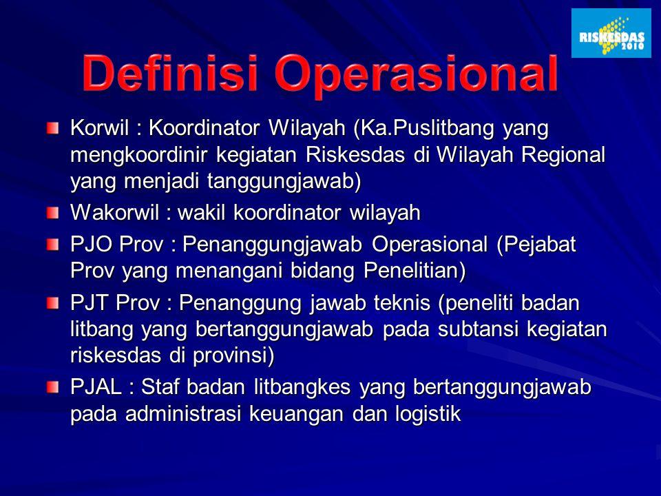 Korwil : Koordinator Wilayah (Ka.Puslitbang yang mengkoordinir kegiatan Riskesdas di Wilayah Regional yang menjadi tanggungjawab) Wakorwil : wakil koo