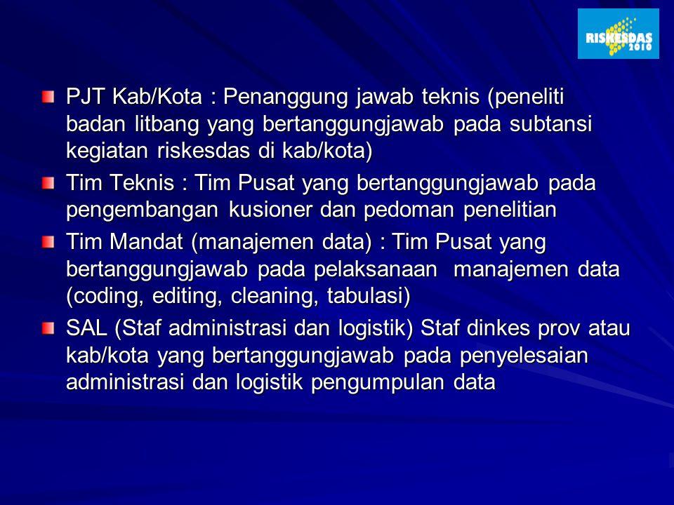 PJT Kab/Kota : Penanggung jawab teknis (peneliti badan litbang yang bertanggungjawab pada subtansi kegiatan riskesdas di kab/kota) Tim Teknis : Tim Pu
