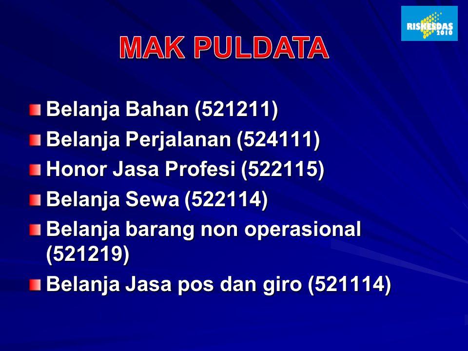 Belanja Bahan (521211) Belanja Perjalanan (524111) Honor Jasa Profesi (522115) Belanja Sewa (522114) Belanja barang non operasional (521219) Belanja J