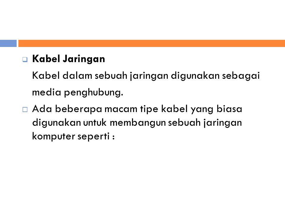  Kabel Jaringan Kabel dalam sebuah jaringan digunakan sebagai media penghubung.