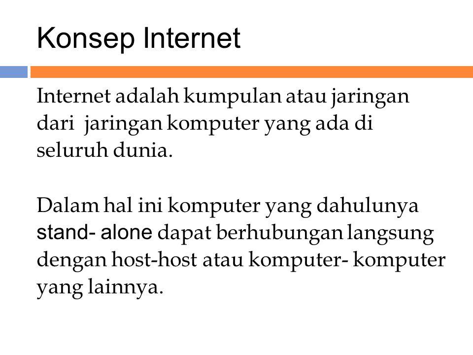 Konsep Internet Internet adalah kumpulan atau jaringan dari jaringan komputer yang ada di seluruh dunia.