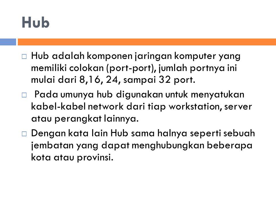 Hub  Hub adalah komponen jaringan komputer yang memiliki colokan (port-port), jumlah portnya ini mulai dari 8,16, 24, sampai 32 port.