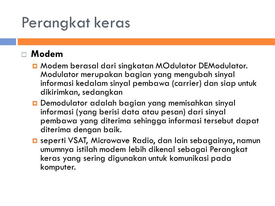 Perangkat keras  Modem  Modem berasal dari singkatan MOdulator DEModulator.