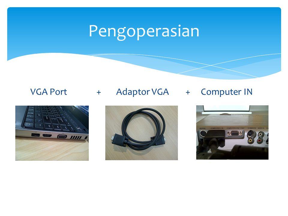 VGA Port + Adaptor VGA + Computer IN Pengoperasian