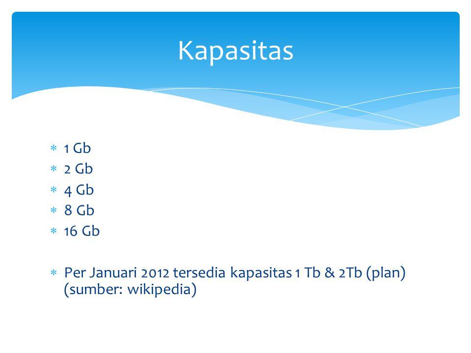  1 Gb  2 Gb  4 Gb  8 Gb  16 Gb  Per Januari 2012 tersedia kapasitas 1 Tb & 2Tb (plan) (sumber: wikipedia) Kapasitas