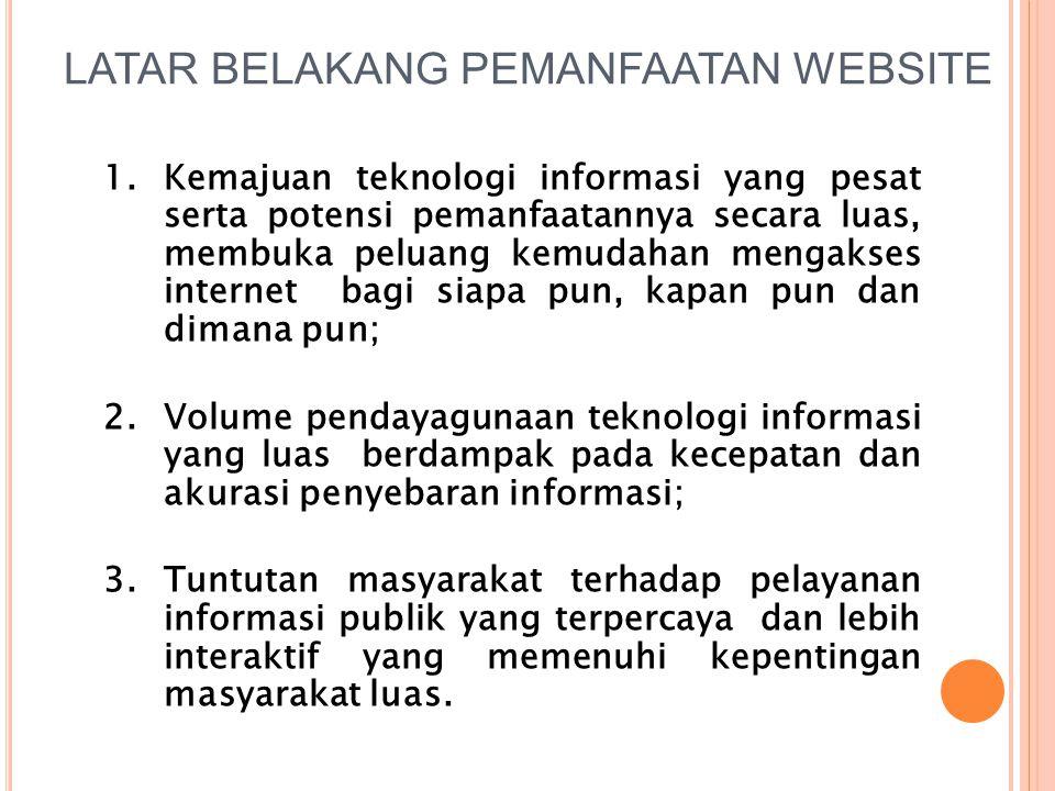 LATAR BELAKANG PEMANFAATAN WEBSITE 1.Kemajuan teknologi informasi yang pesat serta potensi pemanfaatannya secara luas, membuka peluang kemudahan menga
