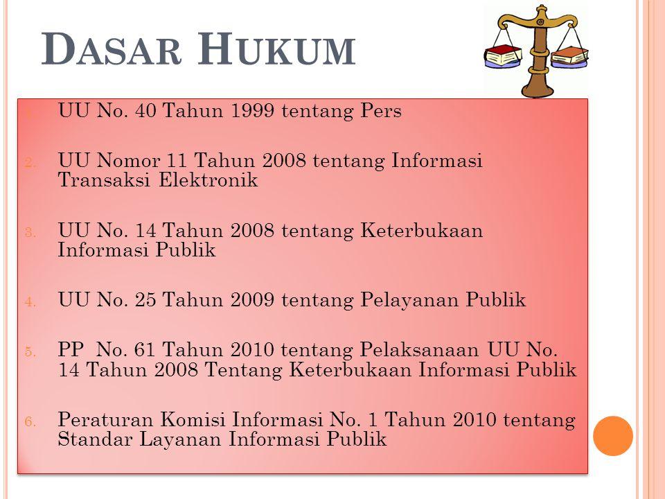 D ASAR H UKUM 1. UU No. 40 Tahun 1999 tentang Pers 2. UU Nomor 11 Tahun 2008 tentang Informasi Transaksi Elektronik 3. UU No. 14 Tahun 2008 tentang Ke