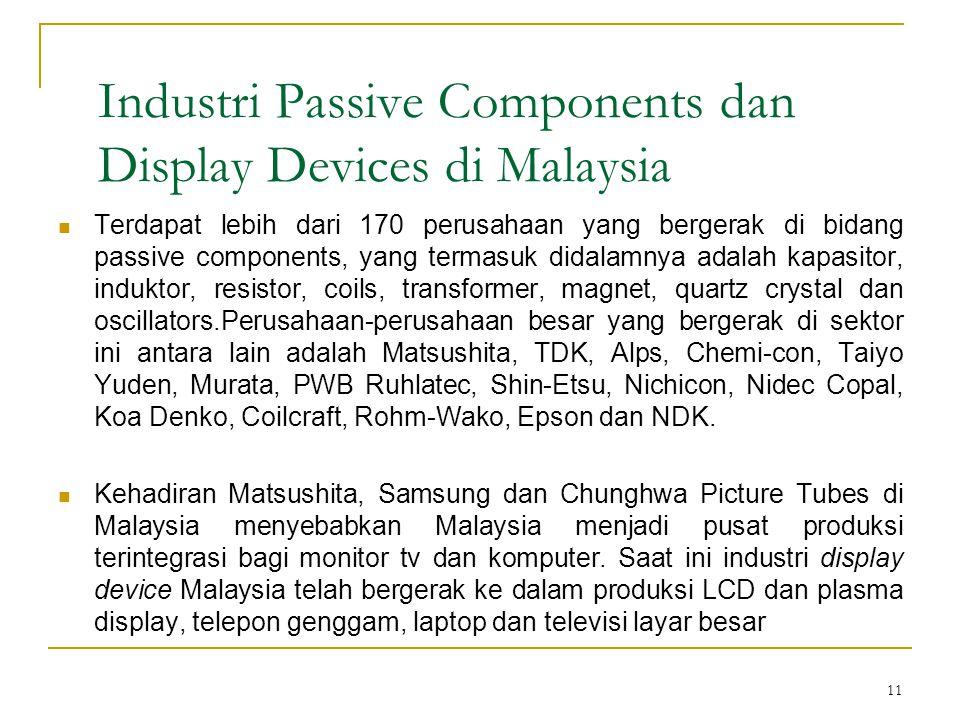 11 Industri Passive Components dan Display Devices di Malaysia  Terdapat lebih dari 170 perusahaan yang bergerak di bidang passive components, yang termasuk didalamnya adalah kapasitor, induktor, resistor, coils, transformer, magnet, quartz crystal dan oscillators.Perusahaan-perusahaan besar yang bergerak di sektor ini antara lain adalah Matsushita, TDK, Alps, Chemi-con, Taiyo Yuden, Murata, PWB Ruhlatec, Shin-Etsu, Nichicon, Nidec Copal, Koa Denko, Coilcraft, Rohm-Wako, Epson dan NDK.
