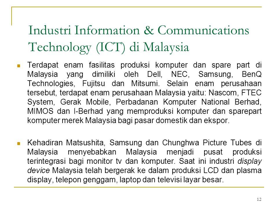 12 Industri Information & Communications Technology (ICT) di Malaysia  Terdapat enam fasilitas produksi komputer dan spare part di Malaysia yang dimiliki oleh Dell, NEC, Samsung, BenQ Technologies, Fujitsu dan Mitsumi.