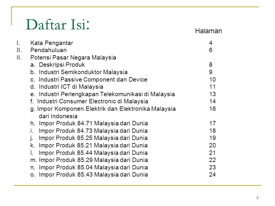 34 Rekomendasi  Peningkatan akses pasar dan informasi mengenai pasar komponen elektronik dan elektrik di Malaysia terhadap produsen produk terkait di Indonesia.