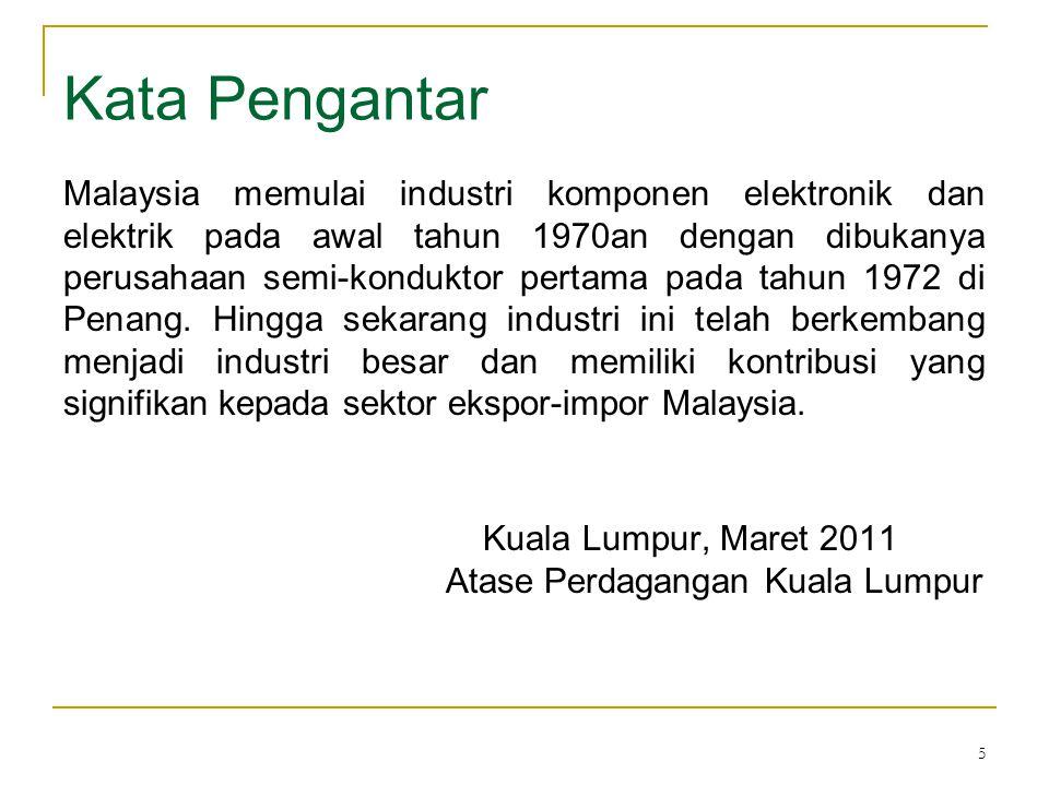 5 Kata Pengantar Malaysia memulai industri komponen elektronik dan elektrik pada awal tahun 1970an dengan dibukanya perusahaan semi-konduktor pertama pada tahun 1972 di Penang.