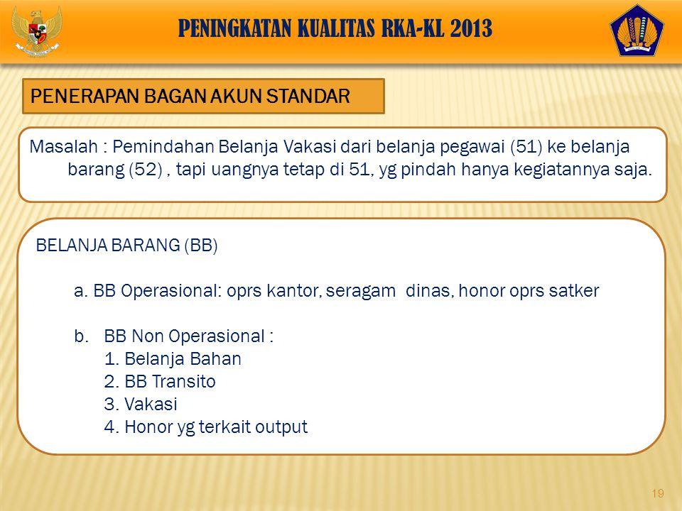 19 PENERAPAN BAGAN AKUN STANDAR BELANJA BARANG (BB) a. BB Operasional: oprs kantor, seragam dinas, honor oprs satker b. BB Non Operasional : 1. Belanj
