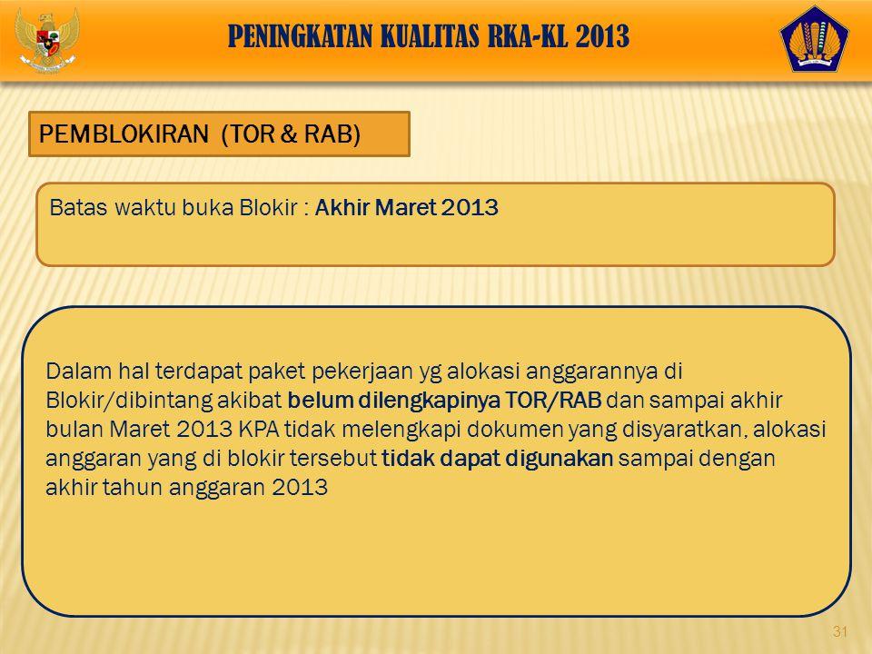 31 PEMBLOKIRAN (TOR & RAB) Dalam hal terdapat paket pekerjaan yg alokasi anggarannya di Blokir/dibintang akibat belum dilengkapinya TOR/RAB dan sampai
