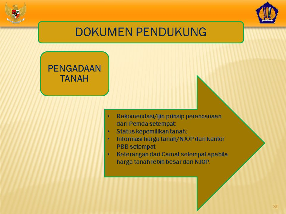35 DOKUMEN PENDUKUNG PENGADAAN TANAH • Rekomendasi/ijin prinsip perencanaan dari Pemda setempat; • Status kepemilikan tanah; • Informasi harga tanah/N
