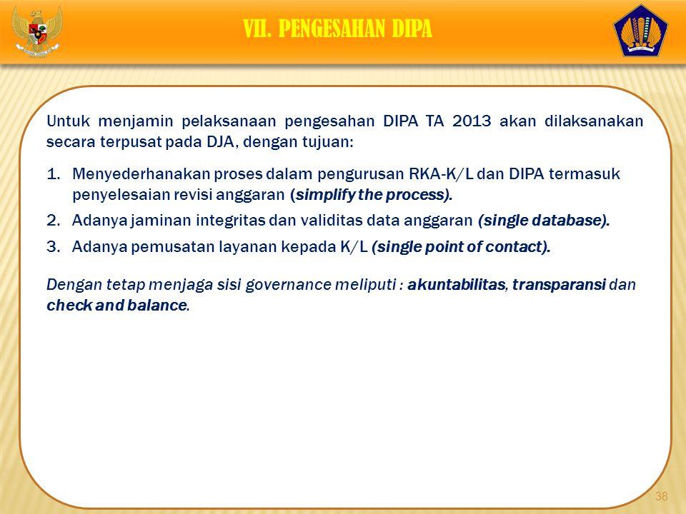 38 Untuk menjamin pelaksanaan pengesahan DIPA TA 2013 akan dilaksanakan secara terpusat pada DJA, dengan tujuan: 1.Menyederhanakan proses dalam pengur