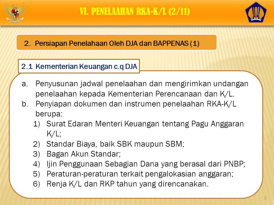 5 a.Penyusunan jadwal penelaahan dan mengirimkan undangan penelaahan kepada Kementerian Perencanaan dan K/L. b.Penyiapan dokumen dan instrumen penelaa