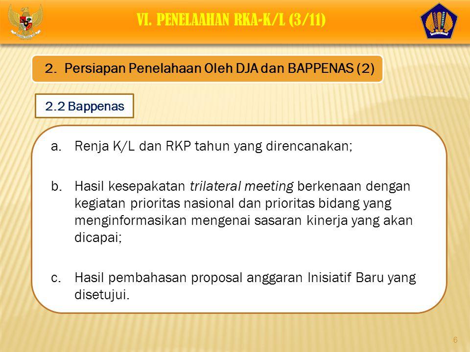 6 a.Renja K/L dan RKP tahun yang direncanakan; b.Hasil kesepakatan trilateral meeting berkenaan dengan kegiatan prioritas nasional dan prioritas bidan