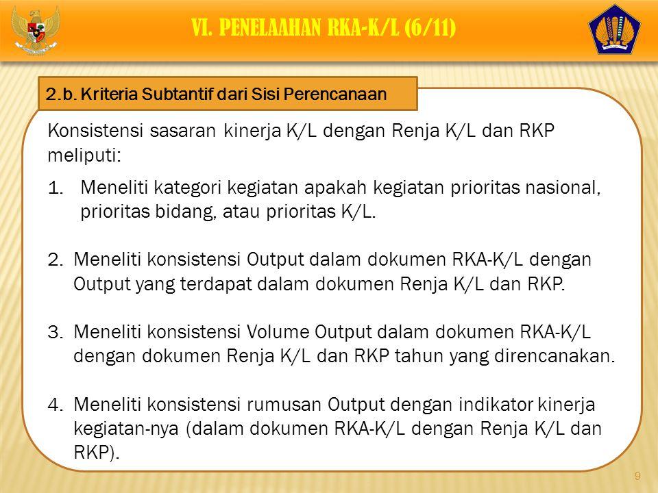 9 Konsistensi sasaran kinerja K/L dengan Renja K/L dan RKP meliputi: 1.Meneliti kategori kegiatan apakah kegiatan prioritas nasional, prioritas bidang