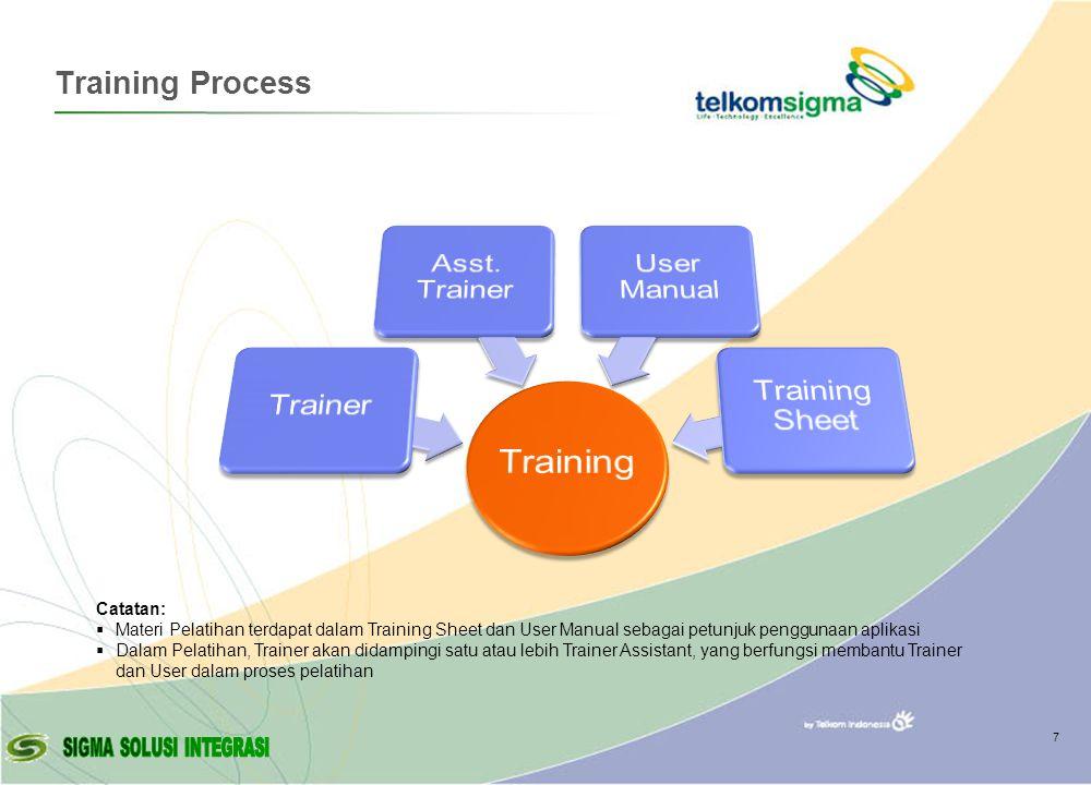 © Copyright Sigma - 2007 Training Process 7 Catatan:  Materi Pelatihan terdapat dalam Training Sheet dan User Manual sebagai petunjuk penggunaan aplikasi  Dalam Pelatihan, Trainer akan didampingi satu atau lebih Trainer Assistant, yang berfungsi membantu Trainer dan User dalam proses pelatihan