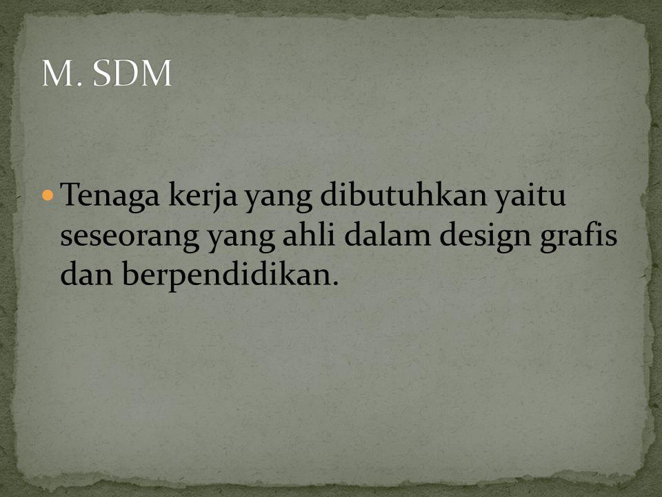  Tenaga kerja yang dibutuhkan yaitu seseorang yang ahli dalam design grafis dan berpendidikan.