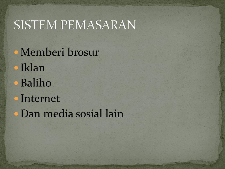  Memberi brosur  Iklan  Baliho  Internet  Dan media sosial lain