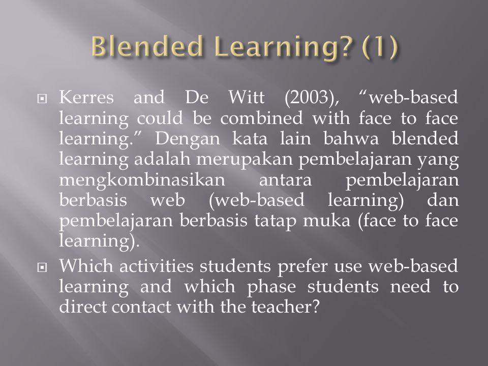  Allesi and Trollip (2001) menegaskan bahwa ketika web-based learning bisa dikombinasikan dengan face to face learning maka sebuah model untuk kesuksesan instruksinya harus melibatkan 4 aktifitas atau fase instruksi, yakni, (1) presenting information ; (2) guiding the learners ; (3) practicing ; dan (4) assesing learning.