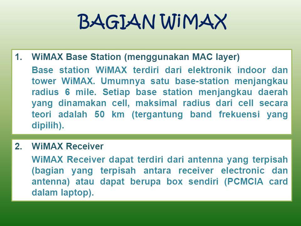 BAGIAN WiMAX 1.WiMAX Base Station (menggunakan MAC layer) Base station WiMAX terdiri dari elektronik indoor dan tower WiMAX. Umumnya satu base-station