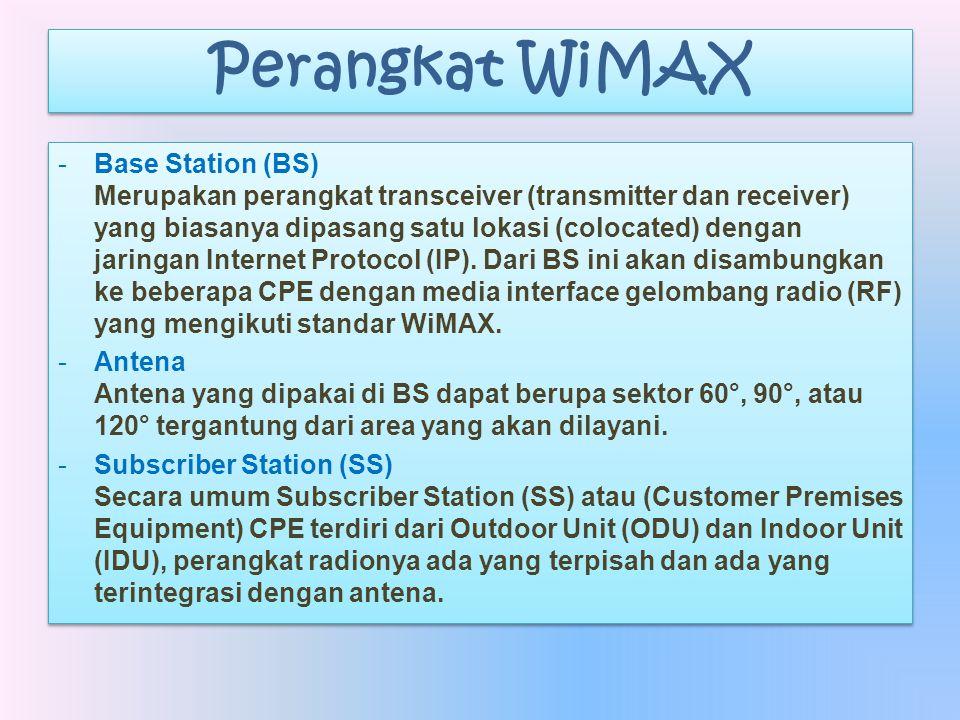Perangkat WiMAX -Base Station (BS) Merupakan perangkat transceiver (transmitter dan receiver) yang biasanya dipasang satu lokasi (colocated) dengan ja