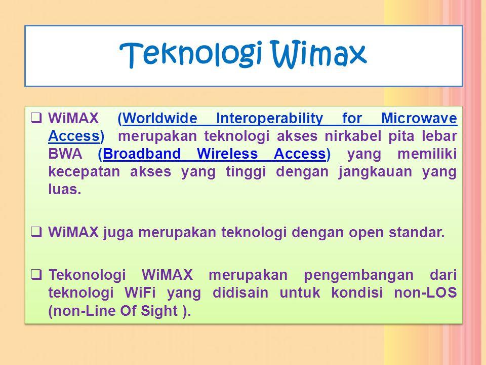 Teknologi Wimax  WiMAX (Worldwide Interoperability for Microwave Access) merupakan teknologi akses nirkabel pita lebar BWA (Broadband Wireless Access