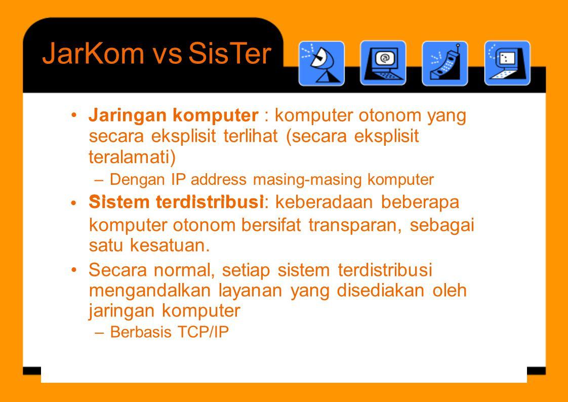 J i k t Sistem terdistribusi JarKomvsSisTer teralamati) – Dengan IP address masing-masing komputer Sistem terdistribusi: keberadaan beberapa • komputer otonom bersifat transparan, sebagai satu kesatuan.