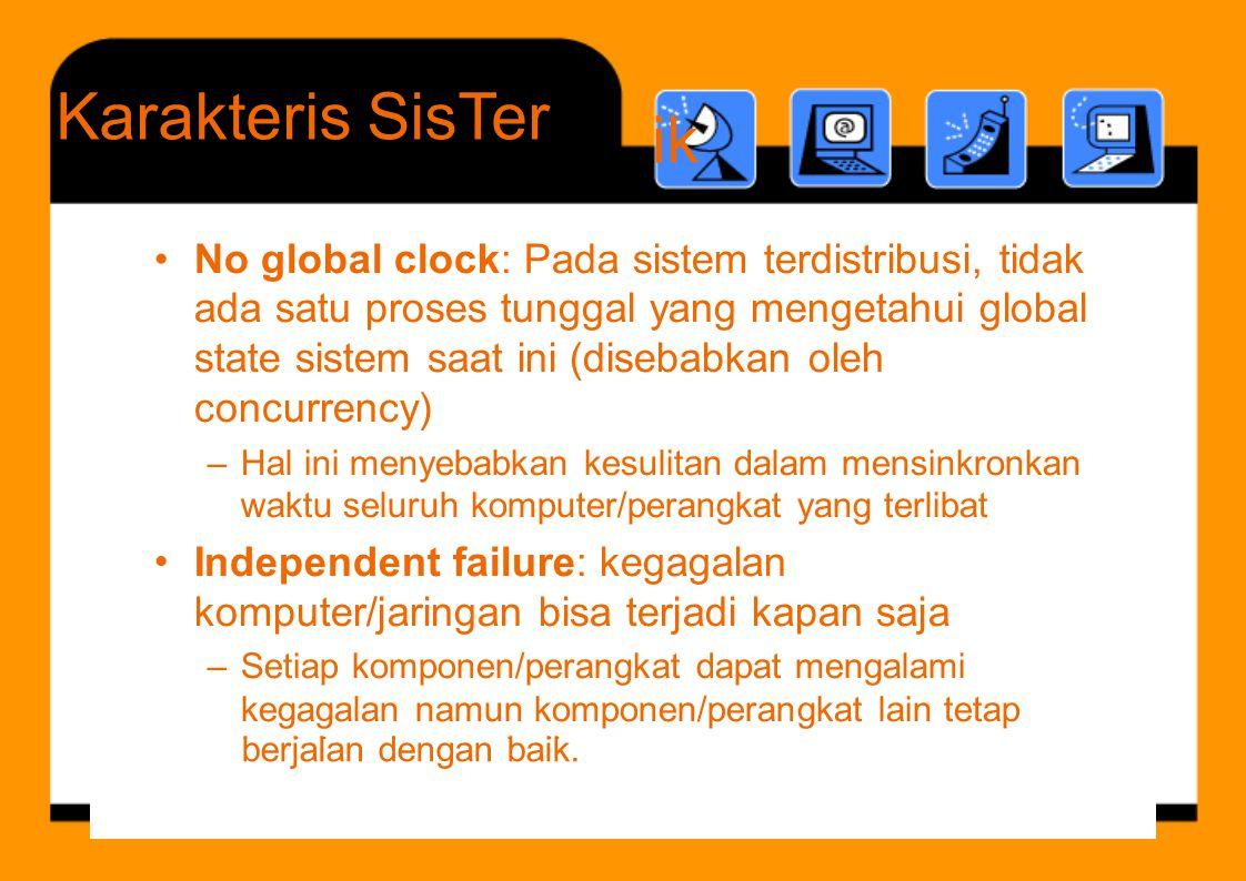 b j l d b ik Karakteris ik SisTer •No global clock: Pada sistem terdistribusi, tidak ada satu proses tunggal yang mengetahui global state sistem saat