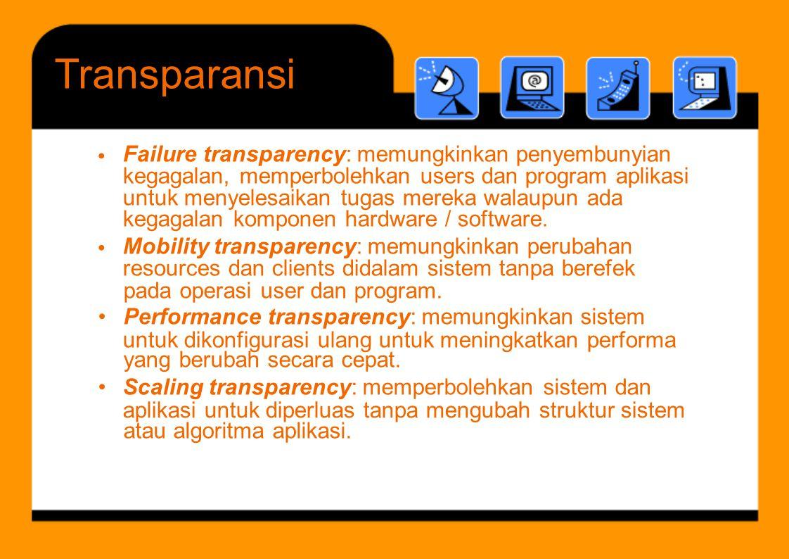 lik i t k di l t b h t kt i t Failure transparency: memungkinkan penyembunyian kegagalan, memperbolehkan users dan program aplikasi untuk menyelesaika