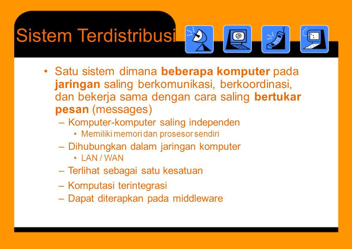 b b k t dan bekerja sama dengan cara saling SistemTerdistribusi – Komputasi terintegrasi – Dapat diterapkan pada middleware • Satu sistem dimana beber
