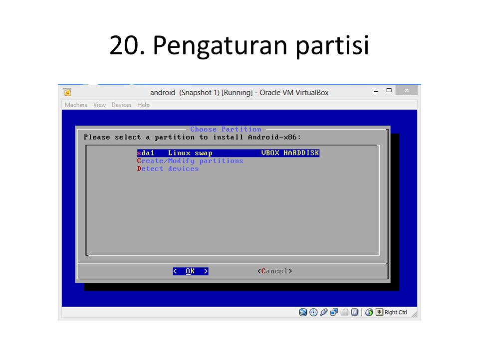 20. Pengaturan partisi