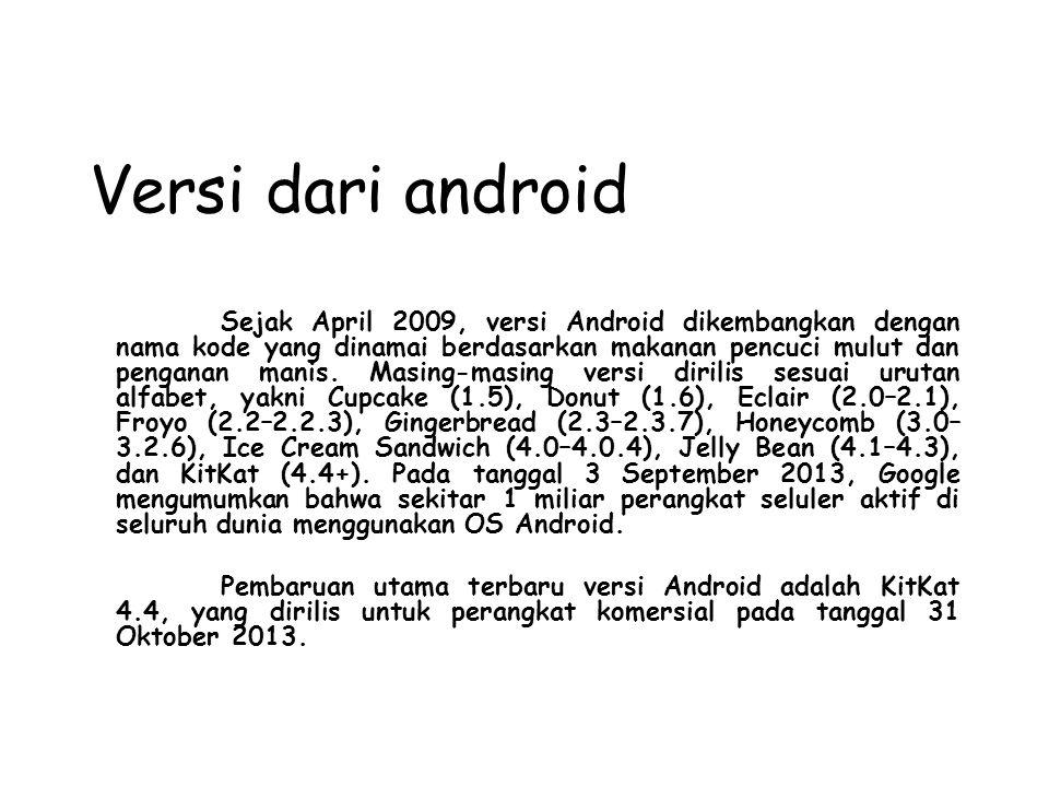 Versi dari android Sejak April 2009, versi Android dikembangkan dengan nama kode yang dinamai berdasarkan makanan pencuci mulut dan penganan manis.