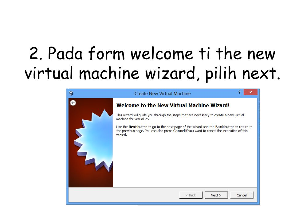 2. Pada form welcome ti the new virtual machine wizard, pilih next.