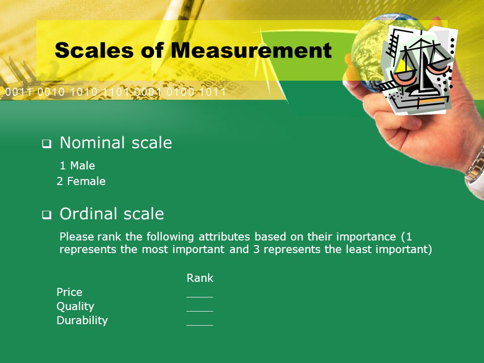 Scales of Measurement  Nominal scale 1 Male 2 Female  Ordinal scale Please rank the following attributes based on their importance (1 represents the