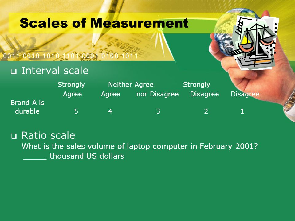 Scales of Measurement  Interval scale Strongly Neither Agree Strongly Agree Agree nor Disagree Disagree Disagree Brand A is durable 5 4 3 2 1  Ratio