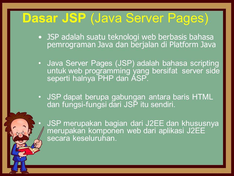 Dasar JSP (Java Server Pages) •JSP adalah suatu teknologi web berbasis bahasa pemrograman Java dan berjalan di Platform Java •Java Server Pages (JSP)