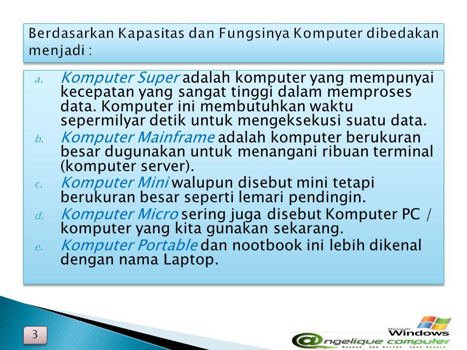 a. Komputer Super adalah komputer yang mempunyai kecepatan yang sangat tinggi dalam memproses data. Komputer ini membutuhkan waktu sepermilyar detik u