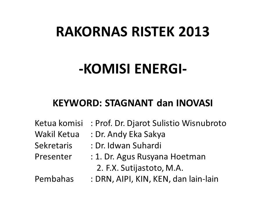 RAKORNAS RISTEK 2013 -KOMISI ENERGI- KEYWORD: STAGNANT dan INOVASI Ketua komisi: Prof.