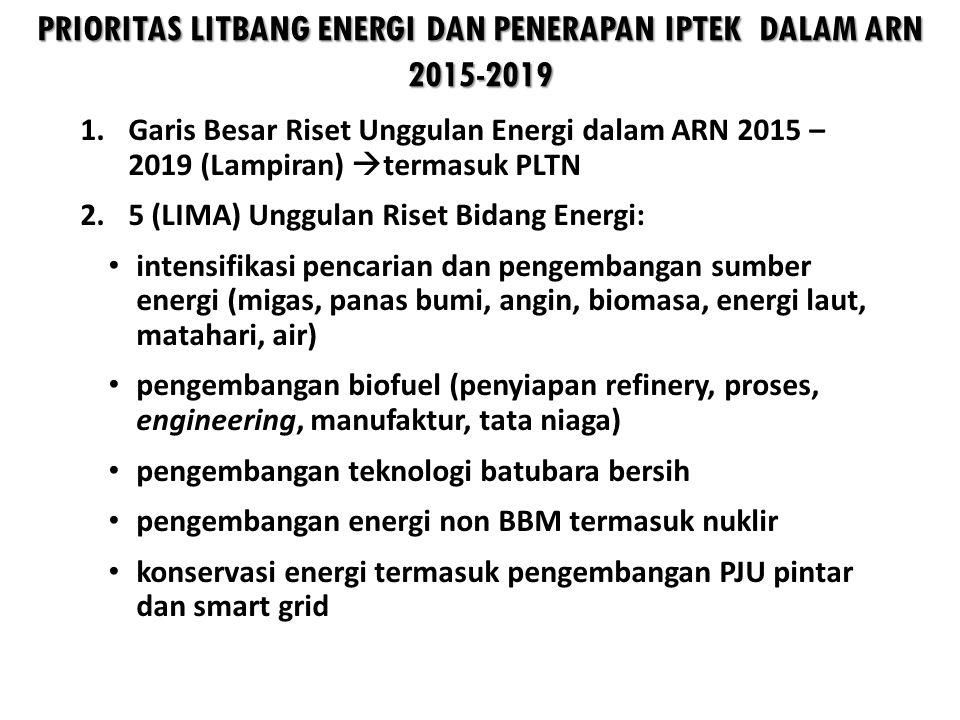 PRIORITAS LITBANG ENERGI DAN PENERAPAN IPTEK DALAM ARN 2015-2019 1.Garis Besar Riset Unggulan Energi dalam ARN 2015 – 2019 (Lampiran)  termasuk PLTN 2.5 (LIMA) Unggulan Riset Bidang Energi: • intensifikasi pencarian dan pengembangan sumber energi (migas, panas bumi, angin, biomasa, energi laut, matahari, air) • pengembangan biofuel (penyiapan refinery, proses, engineering, manufaktur, tata niaga) • pengembangan teknologi batubara bersih • pengembangan energi non BBM termasuk nuklir • konservasi energi termasuk pengembangan PJU pintar dan smart grid
